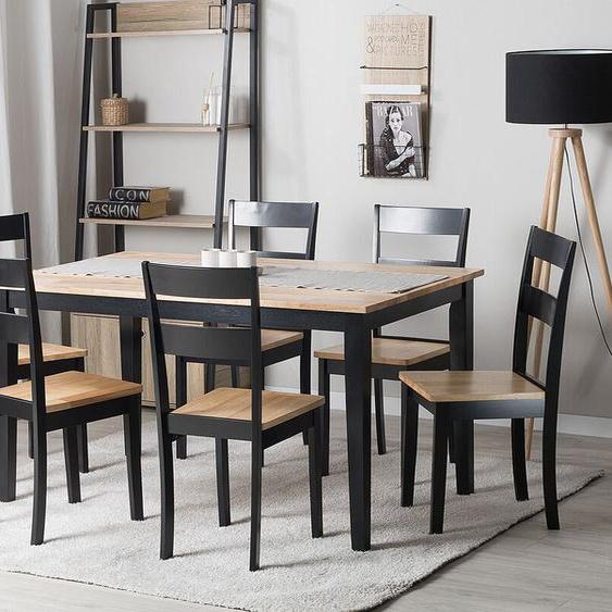 Essgruppe Holz schwarz / hellbraun 6-Sitzer 150 x 90 cm GEORGIA