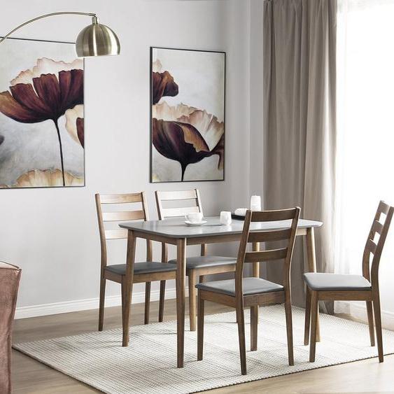 Essgruppe Holz weiß-braun 4-Sitzer 118 x 77 cm MODESTO