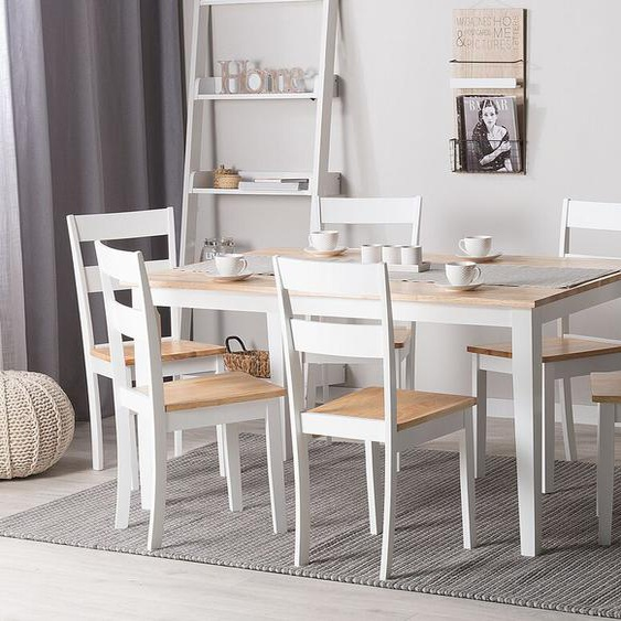 Essgruppe Holz weiß / hellbraun 6-Sitzer 150 x 90 cm GEORGIA