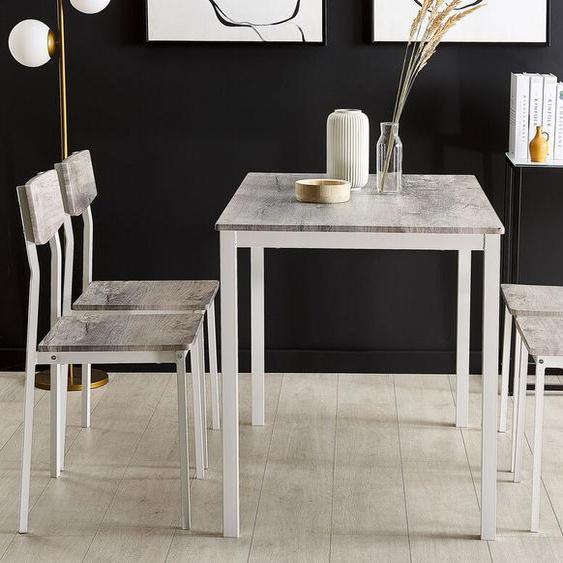 Essgruppe Holzoptik grau / weiß 4-Sitzer 110 x 70 cm BISMARCK