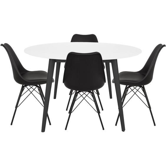 Essgruppe - Hugo Esstisch, rund + 4 Comfort Esszimmerstühle, Schwarz