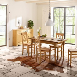 Home affaire Essgruppe , beige, 110/68cm & 4er-Pack Stühle, »Merida«, FSC®-zertifiziert