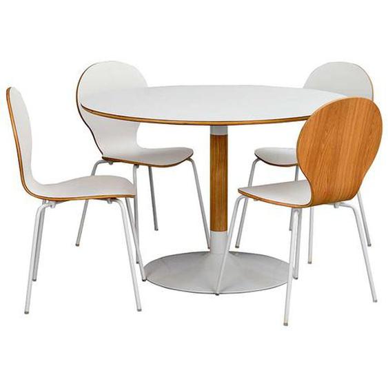 Essgruppe mit rundem Tisch und 4 Stühlen Weiß und Eiche (fünfteilig)