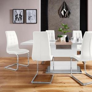 INOSIGN Essgruppe »Perez/Lola«, (Set, 5-tlg), mit 4 Stühlen, Tisch ausziehbar, Breite 160-200 cm