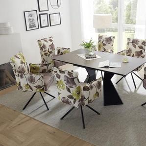 Essgruppe ROBINSON Tischgruppe 4 Stühle ausziehbar Keramik rechteckig braun 160
