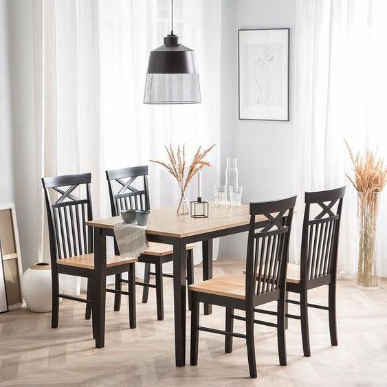 Essgruppe Holz schwarz 4-Sitzer 120 x 75 cm HOUSTON