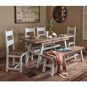 Essgruppe Scotland mit ausziehbarem Tisch und 6 Stühlen
