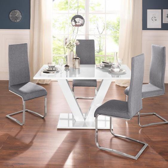 Essgruppe, (Set, 4-tlg), mit 4 Stühlen und Tisch in weiß Hochglanz