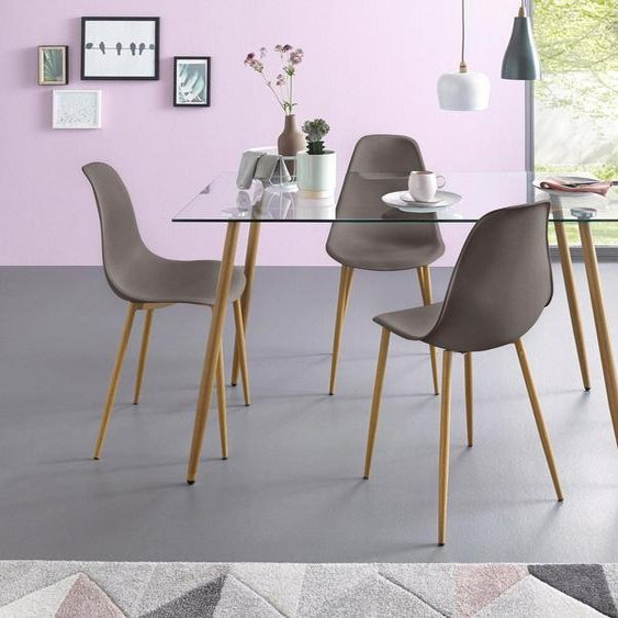 my home Essgruppe »Miller«, (Set, 5-tlg), Eckiger Glastisch mit 4 Stühlen (Kunststoffschale)