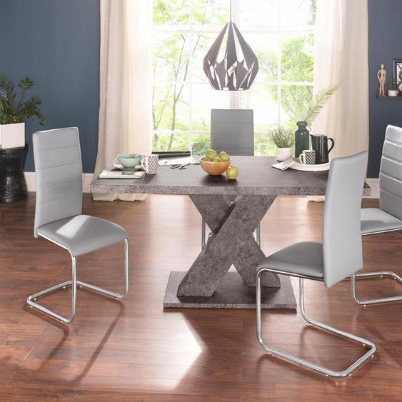 Essgruppe, (Set, 5-tlg), mit 4 Stühlen und Tisch in Zement-Optik