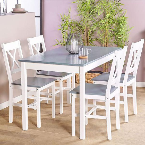 Essgruppe weiß / grau Holz 4-Sitzer 120 x 75 cm MOANA