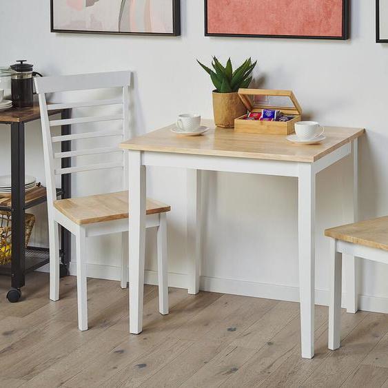 Essgruppe Holz hellbraun / weiß 2-Sitzer 80 x 60 cm BATTERSBY