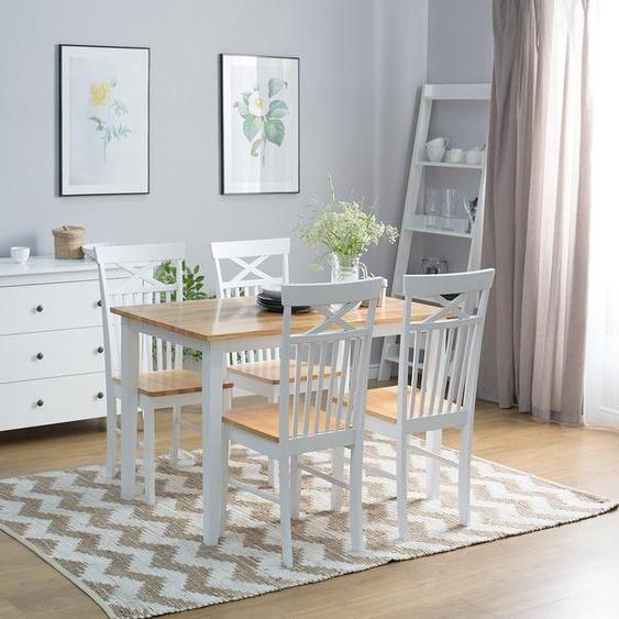 Essgruppe Holz weiß 4-Sitzer 120 x 75 cm HOUSTON