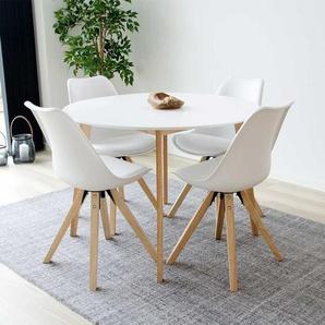 Essplatzgruppe in Wei� und Holz Naturfarben rundem Tisch (5-teilig)