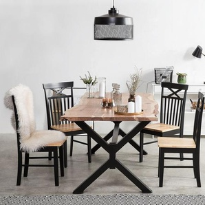 Esstisch Akazienholz hellbraun / schwarz 180 x 95 cm VALBO