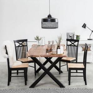 Esstisch Akazienholz hellbraun / schwarz 200 x 102 cm BROOKE