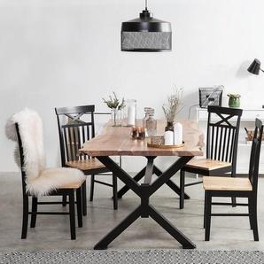 Esstisch Akazienholz hellbraun / schwarz 200 x 95 cm VALBO
