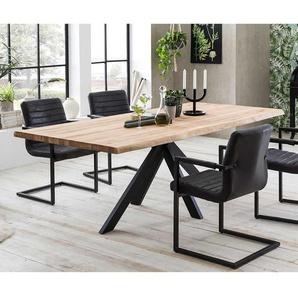 Esstisch aus Eiche Massivholz 4-Fu�gestell aus schwarzem Metall