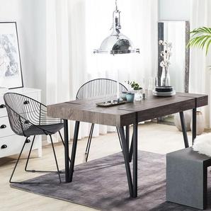 Esstisch dunkler Holzfarbton/schwarz 180 x 90 cm ADENA