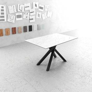 Esstisch Edge 140x90cm Laminam® Keramik Weiß Mittelfuß Kreuz Schwarz, Esstische