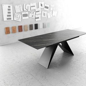 Esstisch Edge 180-220x90cm Laminam® Keramik Braun V-Mittelfuß Schwarz Ausziehbar, Esstische