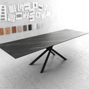 Esstisch Edge 300x100cm Laminam® Keramik Braun Mittelfuß Kreuz rund Schwarz, Esstische