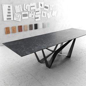 Esstisch Edge 300x100cm Laminam® Keramik Grau Mittelfuß Flachstahl Schwarz, Esstische