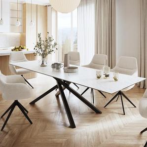 Esstisch Edge 300x100cm Laminam® Keramik Weiß Mittelfuß Kreuz Schwarz, Esstische