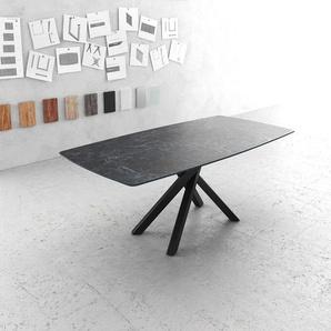 Esstisch Edge Bootsform 200x100cm Laminam® Keramik Grau Mittelfuß Kreuz Schwarz, Esstische