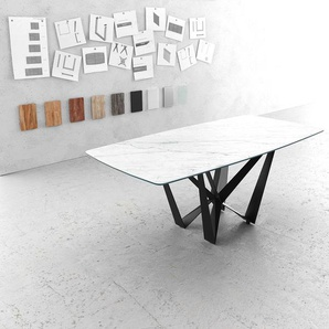 Esstisch Edge Bootsform 200x100cm Laminam® Keramik Weiß Mittelfuß Flachstahl Schwarz, Esstische