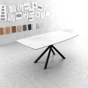 Esstisch Edge Bootsform 200x100cm Laminam® Keramik Weiß Mittelfuß Kreuz rund Schwarz, Esstische