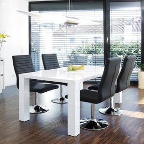 Esstisch-Gruppe weiß Hochglanz 140x90 cm recht-eckig mit 4 Lio Kunst-Leder Stühlen | Luca | Essgruppe weiss mit 4 schwarzen Stühlen | Designer Tischgruppe mit Ess-Tisch weiß lackiert 140cm x 90cm 5 tlg.