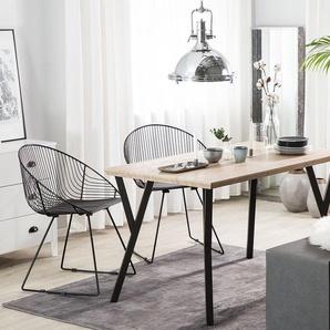 Esstisch heller Holzfarbton/schwarz 140 x 80 cm BRAVO