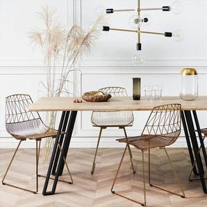 Esstisch heller Holzfarbton/schwarz 180 x 90 cm GRAHAM