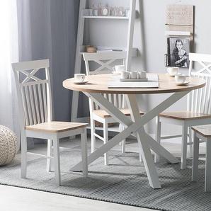 Esstisch heller Holzfarbton/weiß ø120 cm JACKSONVILLE