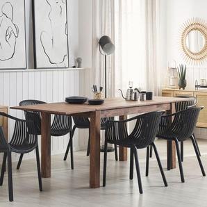 Esstisch Holz dunkelbraun 150/240 x 85 cm mit 2 Verlängerungsstücken MAXIMA