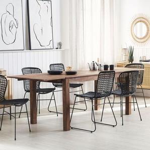 Esstisch Holz dunkelbraun 180/270 x 85 cm mit 2 Verlängerungsstücken MAXIMA