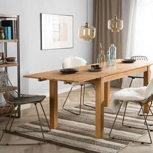 Esstisch Holz heller Holzfarbton 150/240 x 85 cm mit 2 Verlängerungsstücken MAXIMA