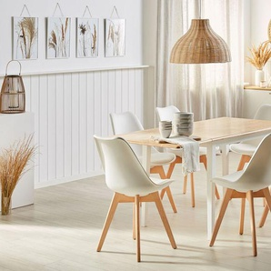 Esstisch Holz weiß 119 x 75 cm verlängerbar LOUISIANA