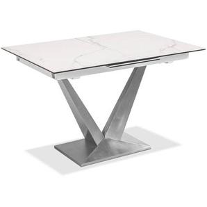 Esstisch mit Auszug, Weiß, Keramik