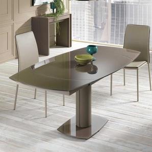 Esstisch mit brauner Glasplatte ausziehbar