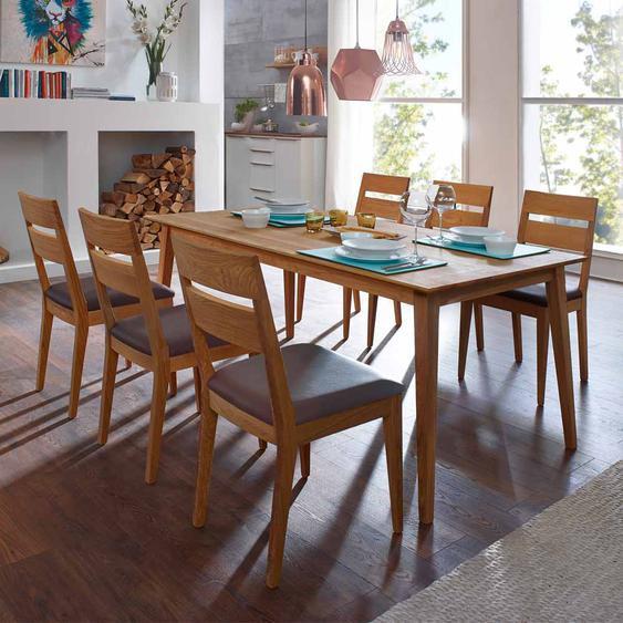 Esstisch mit Stühlen aus Wildeiche Massivholz Braun Kusntleder (7-teilig)