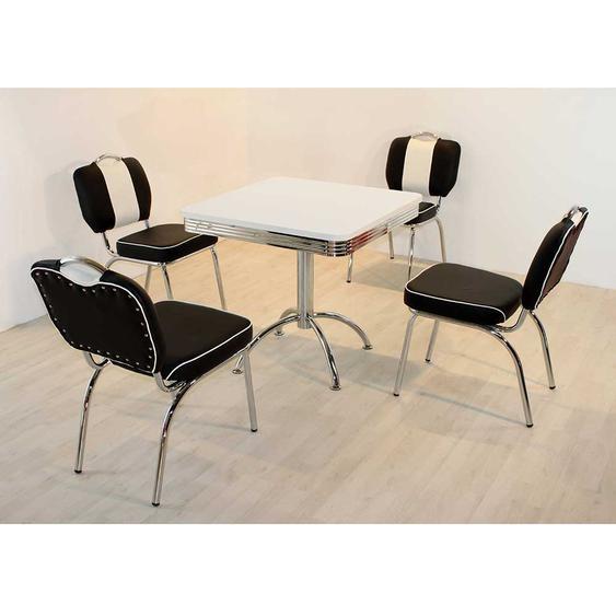 Esstisch mit Stühlen im Retro Style Schwarz Weiß gestreift (5-teilig)