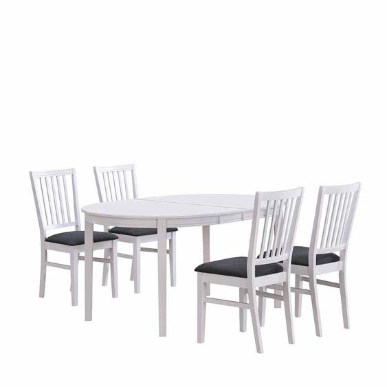 Esstisch mit Stühlen in Weiß Dunkelgrau ausziehbar (5-teilig)