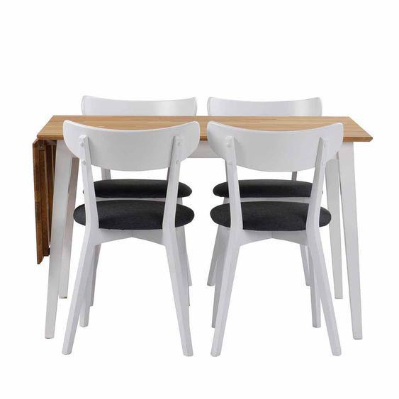 Esstisch mit Stühlen in Weiß Eiche massiv Grau Webstoff (5-teilig)