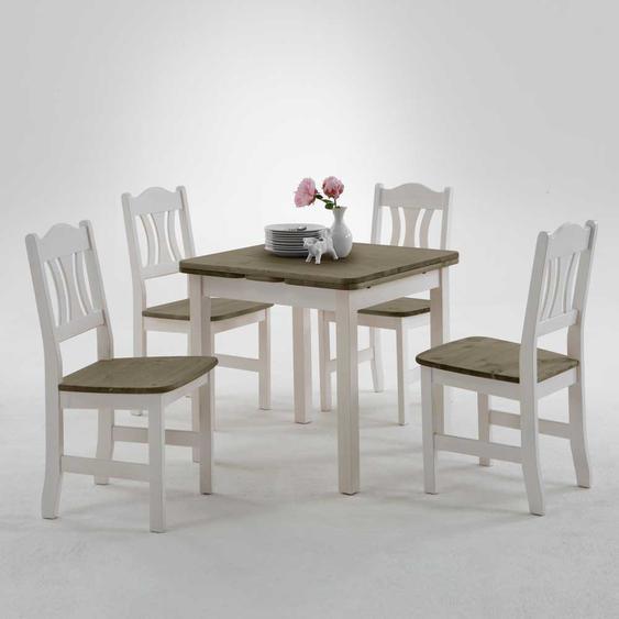 Esstisch mit Stühlen im Landhausstil Weiß Grau (5-teilig)