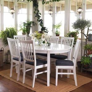 Esstisch mit St�hlen im skandinavischen Design Wei� Grau (7-teilig)