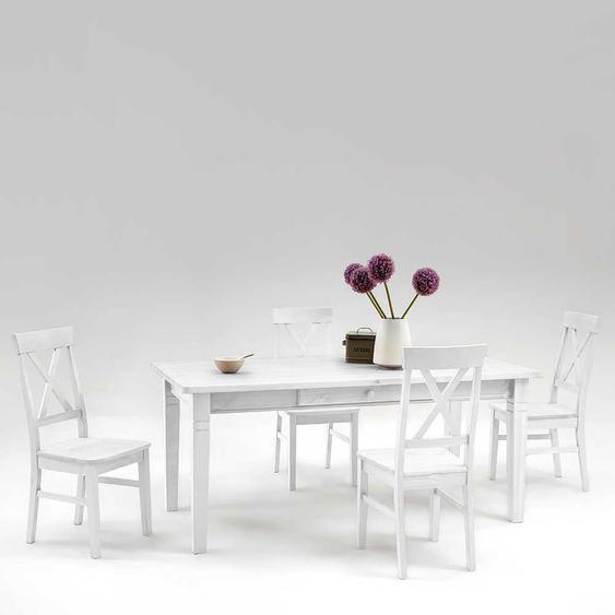 Esstisch mit Stühlen im skandinavischen Landhausstil Weiß Kiefer massiv (fünfteilig)