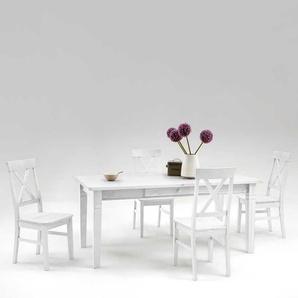 Esstisch mit St�hlen im skandinavischen Landhausstil Wei� Kiefer massiv (5-teilig)