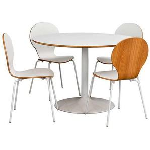 Esstisch mit St�hlen in Wei� Tisch rund (5-teilig)